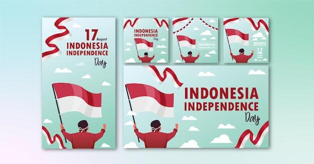 Коллекция баннеров день независимости социальных сетей индонезия шаблон премиум