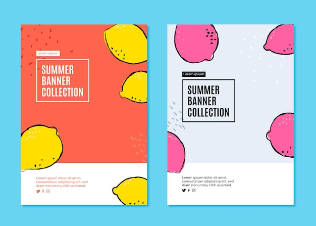 Banner collection for summer with lemons