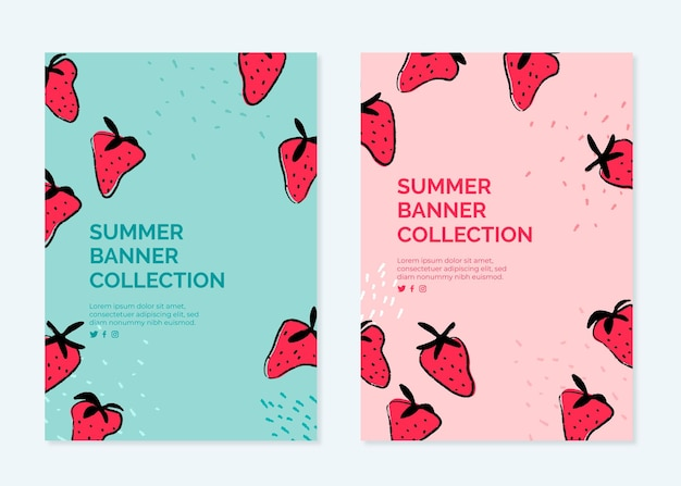 Banner collection for summer with strawberries