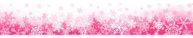 Banner of complex christmas snowflakes with seamless horizontal repetition, in pink colors. winter background with falling snow