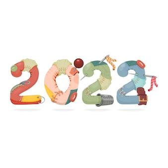 2022 年の新年のバナー コンセプト。ボタンとパッチが付いたおもちゃのバナー。