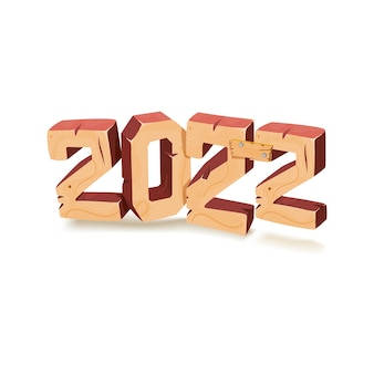 2022 年の新年のバナー コンセプト。木製のテクスチャーの 3 d レンダリング。