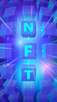 Banner concept of non fungible tokens with nft typography on blue cubes background