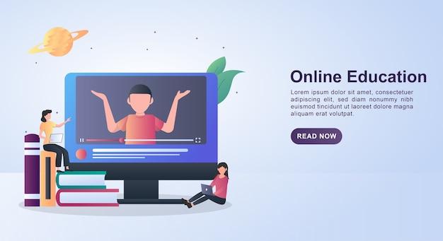 컴퓨터에서 비디오를 통해 학습하는 사람들과 온라인 교육의 배너 개념.