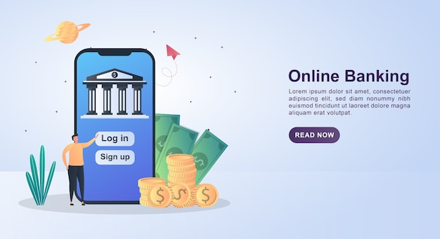 Banner concept of online banking by pressing login to enter online banking.