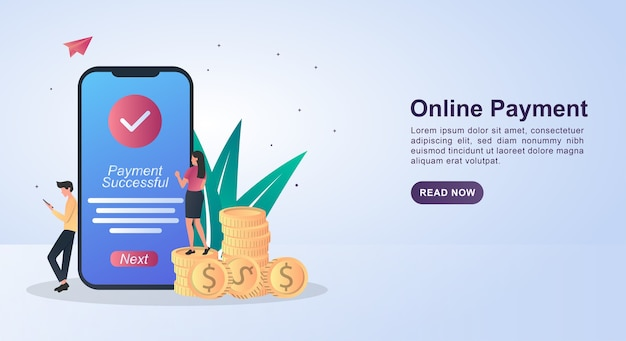 Banner concept of online payment with a notification if the payment is successful on the screen.