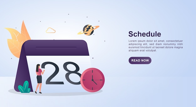 Banner concept of schedule with a large calendar.