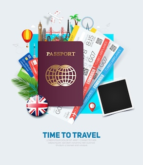 Banner concept for travel and tourism with passport