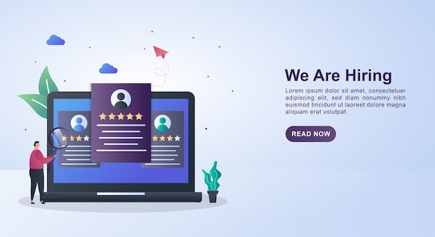 Banner concept of we are hiring with the person currently selecting the candidate on the computer screen.