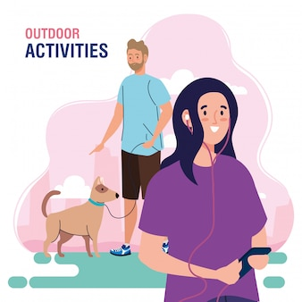 Banner, couple performing leisure outdoor activities, walk with dogs and using headphones and smartphone illustration design