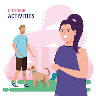 Banner, couple performing leisure outdoor activities, woman walk with dogs illustration design
