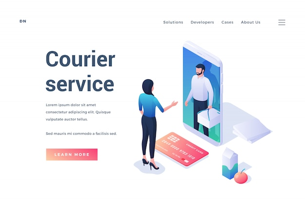 Banner for courier service app advertisement