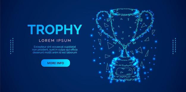 Баннер кубок трофей с синим фоном