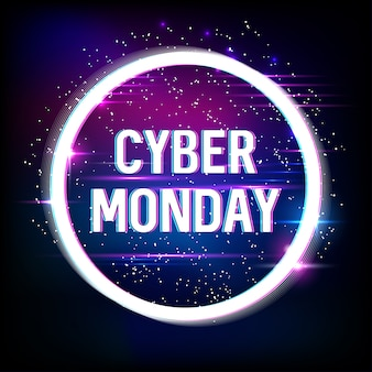 Banner for cyber monday sale with neon and glitch effects. cyber monday, online shopping and marketing . poster .  .