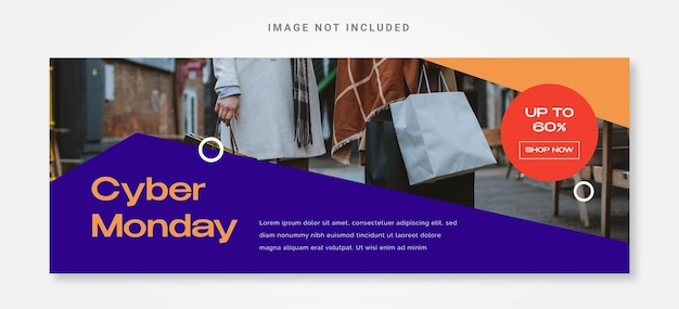 Banner cyber monday with photo