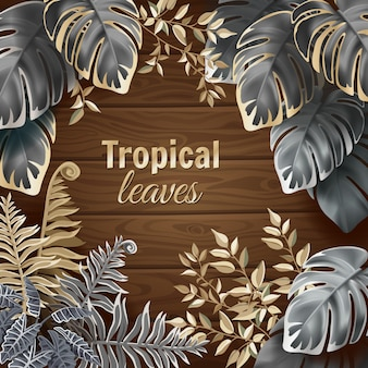 Banner of dark leaves fern and lianas card