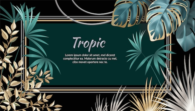 Banner dark leaves of tropical exotic plants.