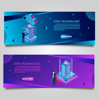 Banner data technology for business isometric design