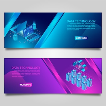 Banner data technology and cloud computing on computer concept for business isometric design