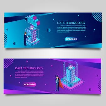 Технология данных баннера для бизнеса изометрический дизайн