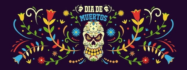 Banner day of dead in mexico, dia de los muertos holiday  template