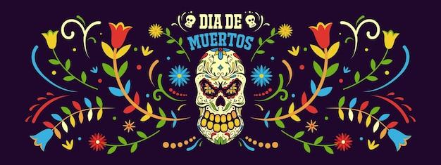 Баннер день мертвых в мексике, шаблон праздника dia de los muertos