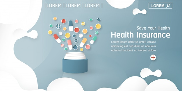 Banner de seguro de salud en azulパステル