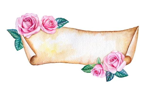白の花で飾られたバナー。水彩イラスト