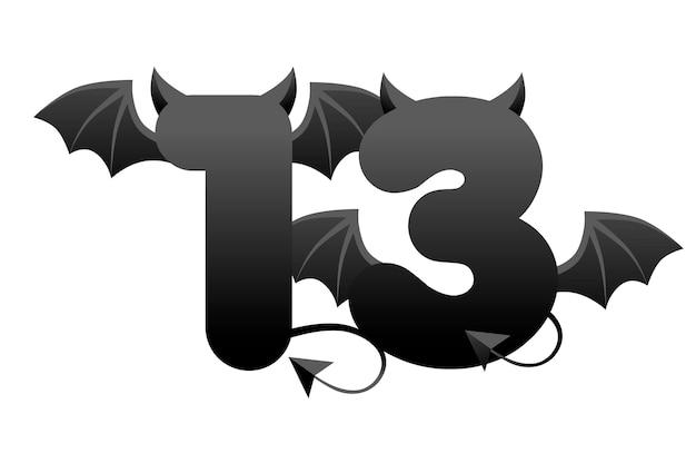 バナー悪魔番号13、uiゲーム用の翼と角のある黒い図。悪魔の数とベクトルイラスト暗い背景。