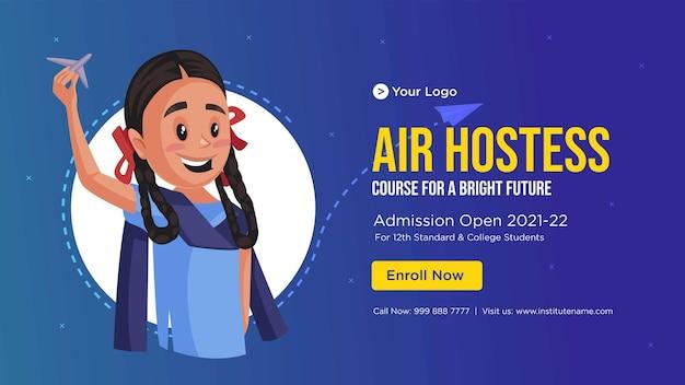 Banner design of air hostess cartoon style template