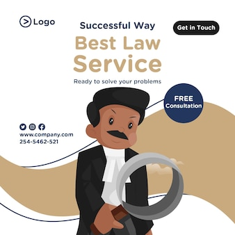 Banner design of best law service in cartoon style