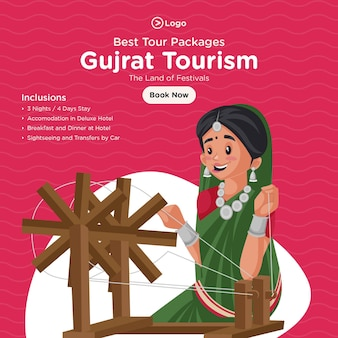 Banner design of best tour packages of gujrat tourism
