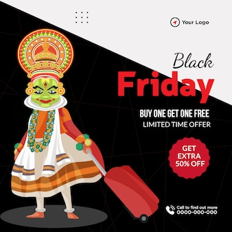 Banner design of black friday buy one get one free sale template