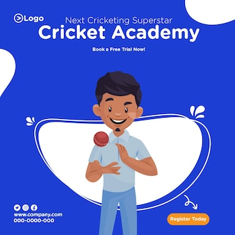 Banner design of book a free trial now cricket academy