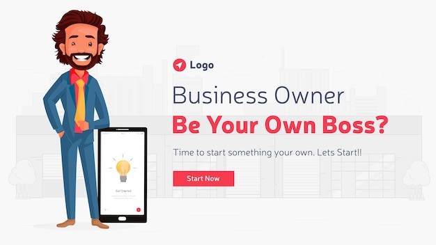 Banner design of business owner be your own boss