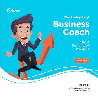 Banner design of businessman is sitting on a growth arrow