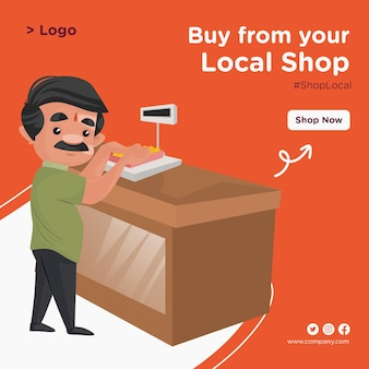 Banner design of buy from your local shop