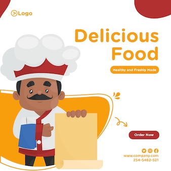 Banner design of chef holding a menu in hand