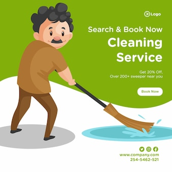 Banner design of cleaning man is cleaning floor water with a broom