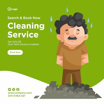 Banner design of cleaning man is tired
