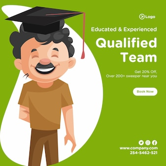 Banner design of cleaning man is wearing a graduate hat
