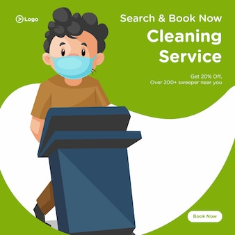 Banner design of cleaning man wearing a surgical mask and holding a dustbin