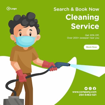Banner design of cleaning man wearing a surgical mask and holding vacuum cleaner