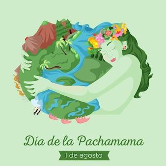 Banner design of dia de la pachamama cartoon style illustration Premium Vector