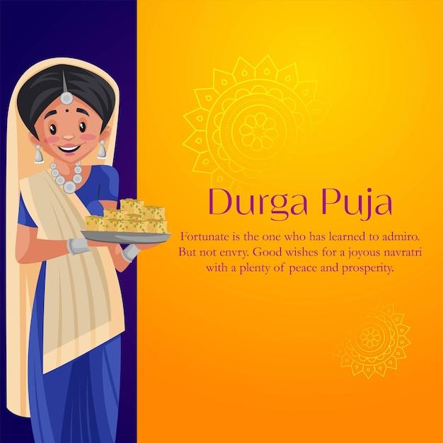 Banner design of durga pooja cartoon style template