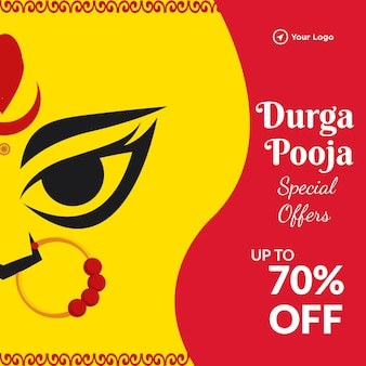 Banner design of durga pooja special offer cartoon style template