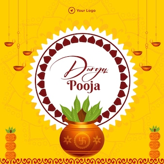 Banner design of durga pooja template on yellow background