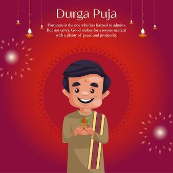 Banner design of durga puja cartoon style template