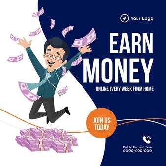 Banner design of earn money illustration