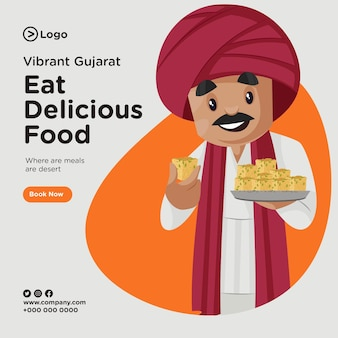 Banner design of eat delicious food